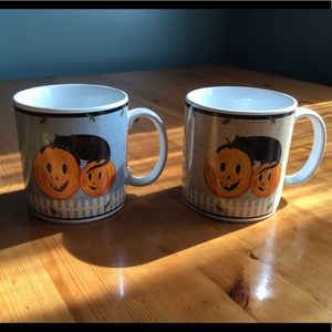 2 Halloween Blk. Cat Mugs-Warren Kimble for Sakura